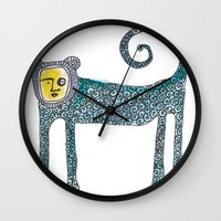 monkey Wall Clocks featuring Monkey by Dawn Patel Art