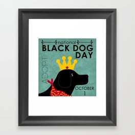 Black Dog Day Royal Crown Framed Art Print