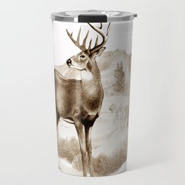 White-tailed Stag Sniffing the Air Travel Mug