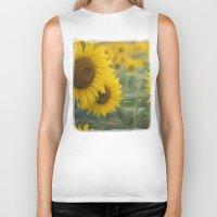 sunflowers Biker Tanks featuring Sunflowers by Michelle Lauren Steinberg