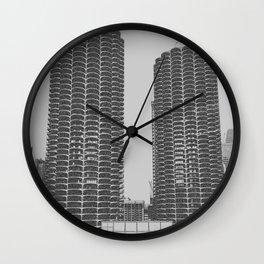 Marina Towers - Chicago - Grey Wall Clock