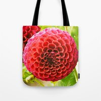 dahlia Tote Bags featuring Dahlia by Sparrow House Photography