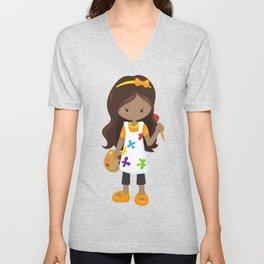 African American Girl, Painter, Paint Artist Unisex V-Neck