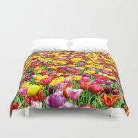 lv Duvet Covers featuring SEA OF TULIPS by Teresa Chipperfield Studios