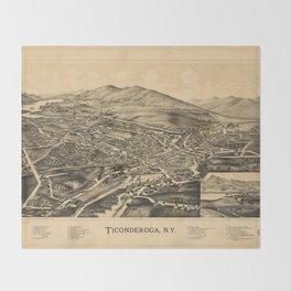Aerial View of Ticonderoga, New York (1891) Throw Blanket