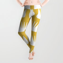 Mid Century Modern Flower Pattern Yellow Leggings