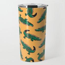 crocodile pattern yellow Travel Mug
