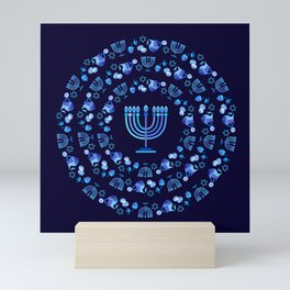 Happy Hanukkah Festival Holiday Decoration JUDAICA Mini Art Print