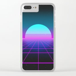 80's Retro Neon Grid Clear iPhone Case