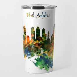 Philadelphia Watercolor Skyline Travel Mug