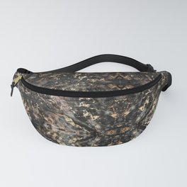 Gold Vein Black Marble Design Fanny Pack