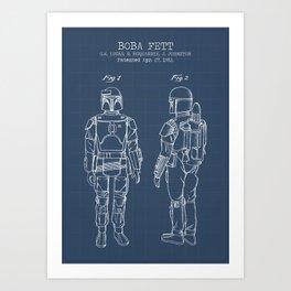 Boba Fett blueprint Art Print