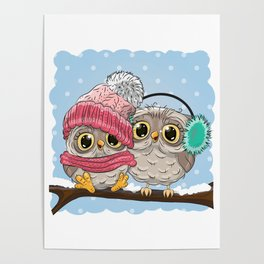 Winter Owl Painting Poster