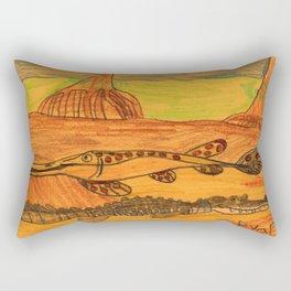 Painted Gar & Alligator Rectangular Pillow