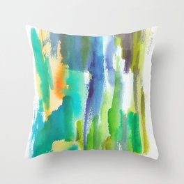 180812 Abstract Watercolour Expressionism 4 | Colorful Abstract | Modern Watercolor Art Throw Pillow