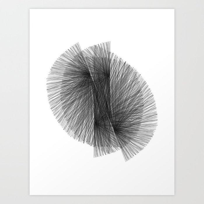 Black White Radiating Lines Mid Century Modern Geometric Abstract Art Print