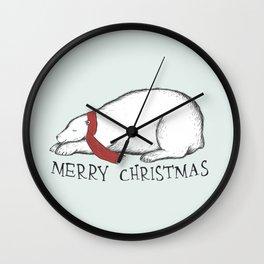 Dreaming Christmas Polar Bear Wall Clock