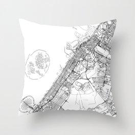Dubai White Map Throw Pillow