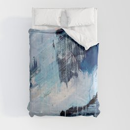 Vibes: an abstract mixed media piece in blues and pinks by Alyssa Hamilton Art Comforters