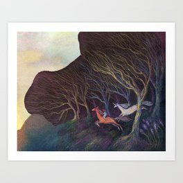 Adventures in the Dark Woods Art Print