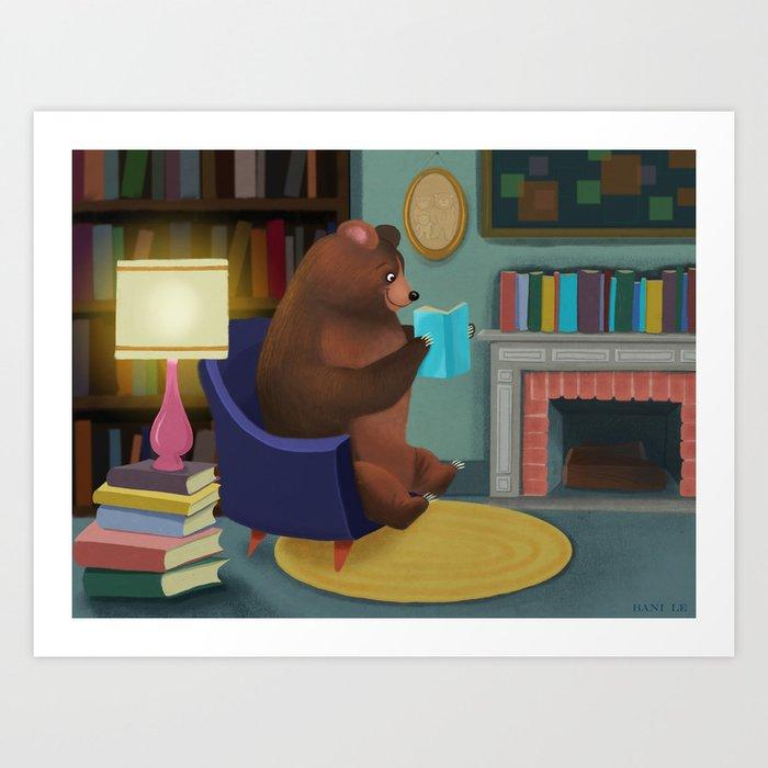 Mister Bear Loves His Books Art Print
