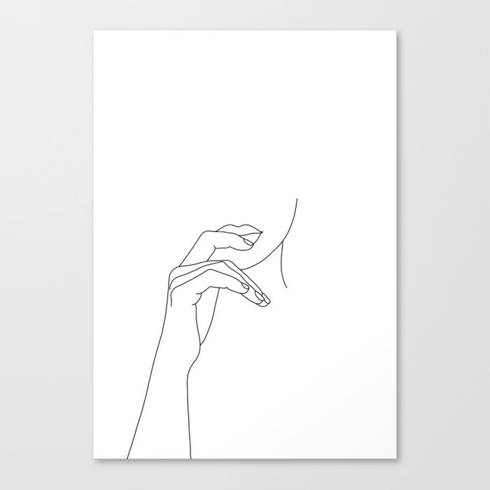 Hands line drawing illustration - Grace Canvas Print