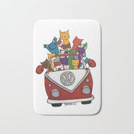 Cool Cats in Red Camper Bath Mat
