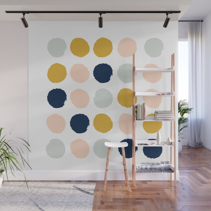 Dot Minimal Trendy Color Palette Gold Silver Metallic Home Decor Wall Mural