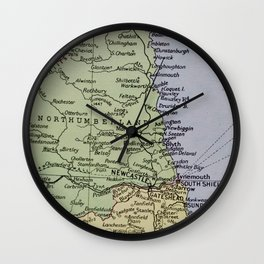 Vintage Map of Northumberland Wall Clock