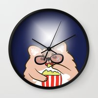cinema Wall Clocks featuring Cinema lovers by Ball Ball and friends