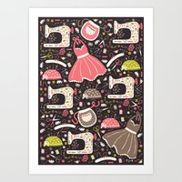 sewing Art Prints featuring Vintage Sewing by Poppy & Red