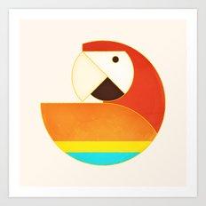 Round Bird - Macaw Art Print