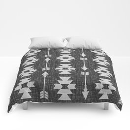 Southwestern Arrow Pattern 238 Black Grey and White Comforters