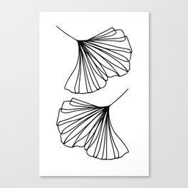 Ginkgo Leaves Minimal Line Art Canvas Print