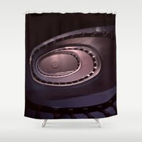 denmark Shower Curtains featuring Looking Up - Spiral Staircase, Copenhagen, Denmark by David Hohmann