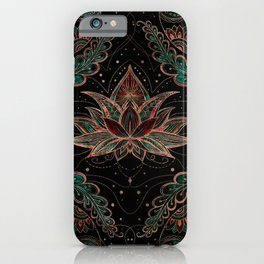 Lotus flower - Red Marble and Malachite iPhone Case