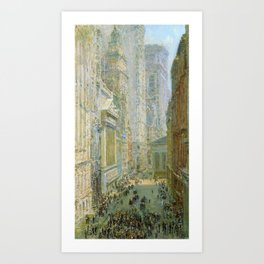 Classical Masterpiece 'Lower Manhattan - Broad and Wall Streets' by Frederick Childe Hassam Art Print
