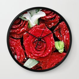 Bouquet of red roses in the rain I Wall Clock
