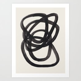 Mid Century Modern Minimalist Abstract Art Brush Strokes Black & White Ink Art Spiral Circles Art Print