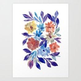 hand painted flowers_3c Art Print