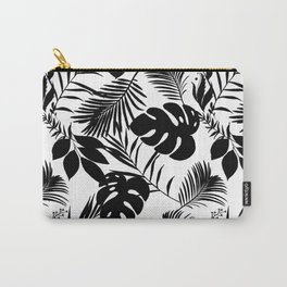 Black N White Monstera And Palm Leaves Carry-All Pouch