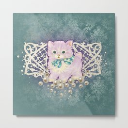 Kitschy Pearl Kitten Metal Print