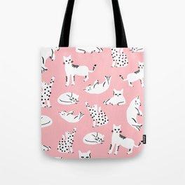 Cat Pattern - Pink Tote Bag