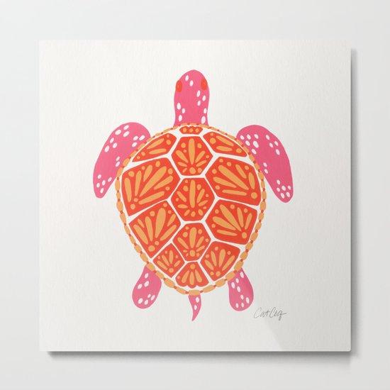 Sea Turtle – Melon Palette Metal Print