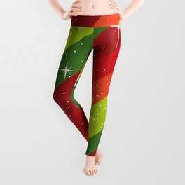 Christmas Pattern, Green, Red, Stars, Snowflakes Leggings