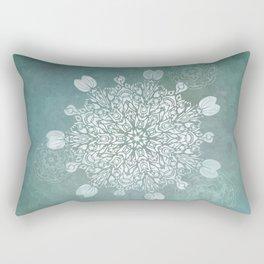 Turquoise Batik Mandala Float Rectangular Pillow