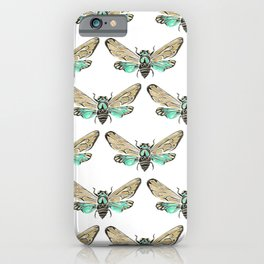 Summer Cicada – Mint & Tan Palette iPhone Case