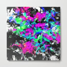 psychedelic splash painting abstract texture in pink purple blue green black Metal Print