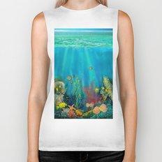 Undersea Art With Coral Biker Tank