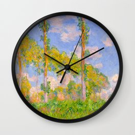 Claude Monet Impressionist Landscape Oil Painting Poplars in the Sun Wall Clock